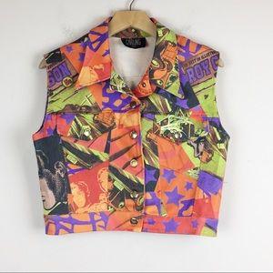 Vintage 90s vest graphic comic bold colours
